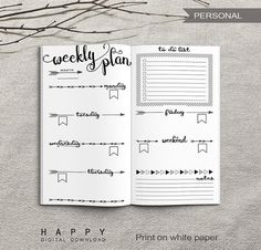 Printable Weekly Travelers Notebook Insert (Personal Size) ------------------------------------------------------------------------------------------- Size: 3.75 x 6.75 inches Format: 1