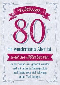 Warum 80 ein wunderbares Alter ist: - Doppelkarten - Grafik Werkstatt Bielefeld