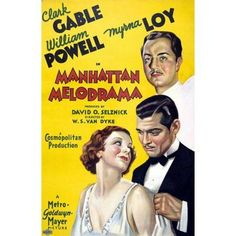 Clark Gable William Powell Myrna Loy Canvas Art - (24 x 36)