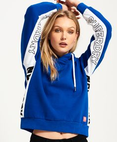 Neuer Damen Superdry Vintage Logo Regal Hoodie mit Streifen Dress Blau Solid