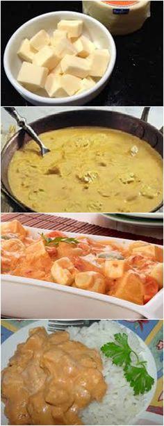 Delicioso ESTROGONOFE DE QUEIJO...VEJA AQUI>>>Aqueça o azeite e doure a cebola. Acrescente o champignon e refogue  #receita#pizzadecalabresa#paodecalabresa#massas#torta#lanches#salgados#hamburgueres#lasanha#macarrao#pao#polenta
