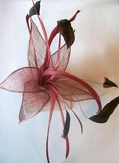 Dusky Rose Pink Sinamay Flower & Feather Fascinator On Beak Clip & Brooch   eBay