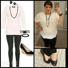 #ChubbyChique 7-31-2015 Black ponte pants by #Sanctuary via #StitchFix #stitchfixfriday , blush pink boatneck tab sleeve blouse by @loft #AnnTaylorLoft #LoveLoft #LoftGirl , black wedge pumps by #seychelles via #DSW #ShoeLover #100ShadesofShoefies , black long beaded necklace and black rhinestone earrings by @expressclothingnye #ExpressFashion #ExpressRunway , black and silver watch by #Guess