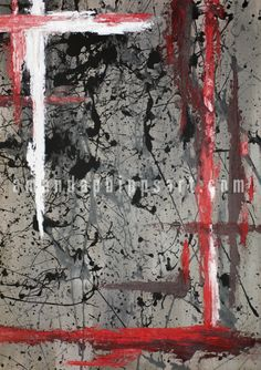 "SOLD ""Strength in Chaos"" Abstract oil and acrylic painting on canvas 34x48x1.75 Black, grey, white, red"
