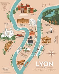 y first illustrated map for the beautiful Lyon. It was a challenging and also inspiring project. Travel Maps, New Travel, Travel List, Travel Posters, Travel Photos, Travel Destinations, France Map, South Of France, France Travel