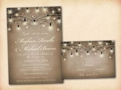 Wedding Invitation and RSVP Card Suite - Classic Modern Brown Romantic Night Tree Twig Light Bulbs Personalized Double Sided DIY Printable