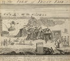 During the 18th century the River Thames periodically froze over and the surface was solid enough to walk on. Impromptu celebrations known as Frost Fairs were held on the Thames. This etching depicts one such fair in 1740, including details of skittles on the frozen river, a Punch and Judy show and refreshment tents pitched on the ice.