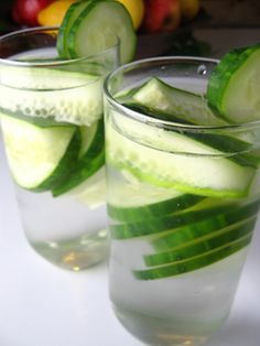Cucumber water – This was new to me but apparently it is popular in spas. I love cucumbers so I gave it a try. The idea is simple. Chop up a cucumber and let it steep in chilled water for a few minutes. It is very refreshing