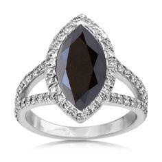 5.37ct Marquise Cut Brilliant Round Natural Diamond Rings Black