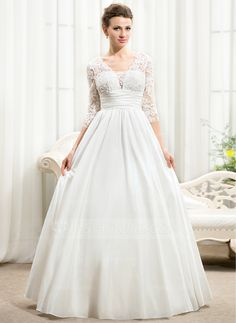 A-Line/Princess V-neck Floor-Length Taffeta Lace Wedding Dress With Ruffle Beading Sequins (002056594) - JJsHouse