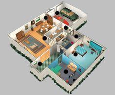 plan de maison 3d avec 2 chambres et garage