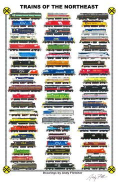 Trains of Trains of the Northeast: Hand drawn locomotives of The Northeast, past and present by Andy Fletcher