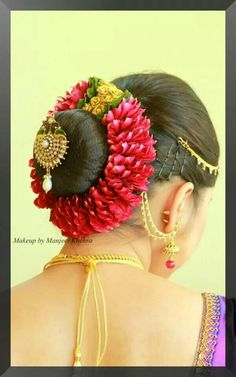 South Indian Bride, flower-wrapped bun with embellishment, jewelry<br> Bridal Hairstyle Indian Wedding, Bridal Hair Buns, Wedding Bun, Bridal Hairdo, Indian Wedding Hairstyles, Indian Bridal Makeup, Bride Hairstyles, Wedding Dress, Floral Hair