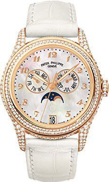 Patek Philippe Ladies Annual Calendar Complicated Watches. 37mm 18K rose gold case set with 431 diamonds (~2.79 ct.), sapphire crystal back, diamond set crown, white mother of pearl dial with Breguet-