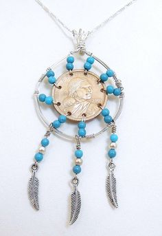 Dream Catcher  Pendant Turquoise Beaded Pendant Indian Coin