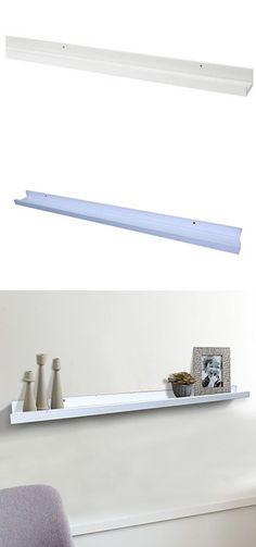 "Shelving Solution Large ""L"" Shaped Floating Shelf (White 45 1/4 Inch)"