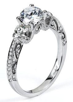 0.42 ctw Prong Setting G SI2 Round Brilliant Diamond 14k White Gold Semi Mount Engagement Ring