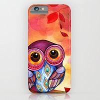 iPhone 6 Cases featuring Owl's First Fall Leaf by Annya Kai