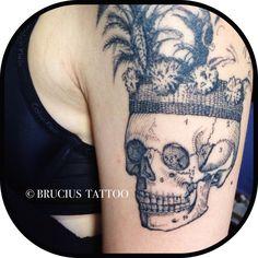 #BRUCIUS #tattoo #sf #linework #black #ink #work #details #engraving #etching #arm #skull #headdress #hat #Philippines