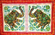 Elephant hand-embroidered wall hanging made in a tiny village in the region of Kutch, Northern India. Textile Texture, Handmade Items, Elephant, My Etsy Shop, Textiles, India, Wall, How To Make, Goa India