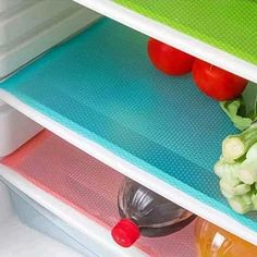 Cuteco 4 pcs Fashion Refrigerator pad Antibacterial antifouling Mildew Moisture Preserving Pad Refrigerator Mats Fridge Base Cushion Placemats Coasters Kitchen Pads (green): Amazon.co.uk: Kitchen & Home