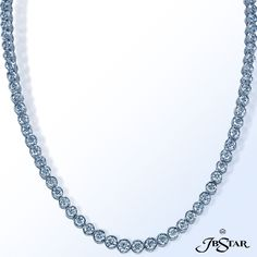 Style 4688 Platinum diamond necklace beautifully handcrafted with an impressive total of 97 brilliant round diamonds. #diamondnecklace #necklace #diamonds