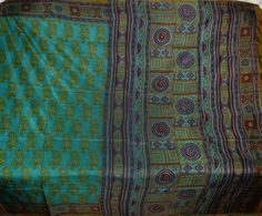Unusual Floral Leafs 100% Pure Real Silk Sari Rare Find Flower Saree