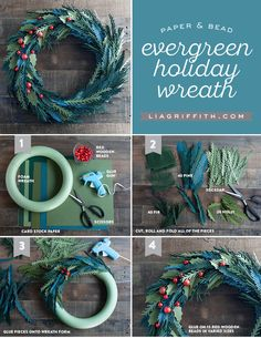 Make your own stunning paper Holiday wreath using text weight papers and red wooden beads. Design and download by handcrafted lifestyle expert Lia Griffith.