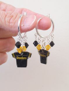 Pittsburgh Steelers Earrings, Steelers Bling, Black and Gold Jersey Charm Hoops, Pro Football Steelers Jewelry Accessory Fanwear by scbeachbling on Etsy