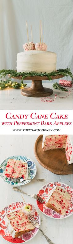 Candy Cane Cake with Peppermint Bark Apples
