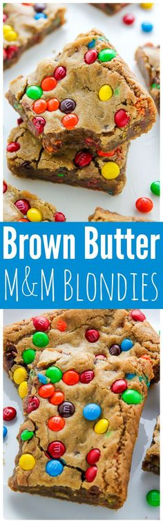 Beware: These thick and chewy Brown Butter M&M Blondies are irresistible! (Brown Butter Brownies) Beware: These thick and chewy Brown Butter M&M Blondies are irresistible! Brownie Recipes, Cookie Recipes, Dessert Recipes, Low Carb Dessert, Dessert Bars, Yummy Treats, Sweet Treats, Yummy Food, Weight Watcher Desserts