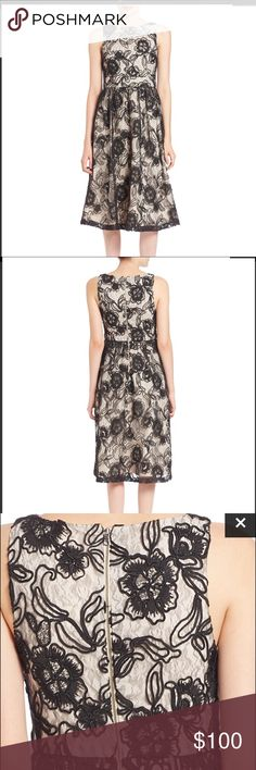 """Alice+Olivia Seraphina Tea Length Shift Dress sz 8 Corded floral lace elevates an ultrafemme sleeveless fit-and-flare dress styled with an elegant jewel neckline. Impeccable seaming creates a figure-flattering silhouette. Black lace overlay over nude is simple stunning . Classic fit and flare style is flattering on any figure!!!! 100% Authentic Alice + Oliva Dress sz 8 45"""" length. Back zip closure. Jewel neckline. Sleeveless. Lined. 100% nylon. Dry clean. Brand new without tags. Inner label…"""