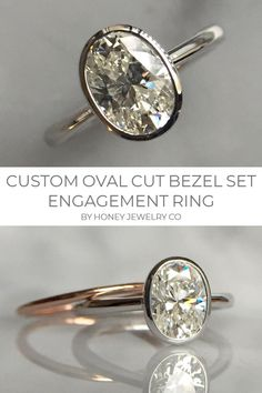 verlobungsring oval Custom Oval Cut Bezel Set Engagement Ring by Honey Jewelry Co. The perfect diamond paired with the perfect shade of rose gold. An instant classic. Unique but simple. Leaf Engagement Ring, Classic Engagement Rings, Platinum Engagement Rings, Engagement Ring Settings, Bff, Gold Diamond Wedding Band, Wedding Bands, Custom Wedding Rings, Or Rose