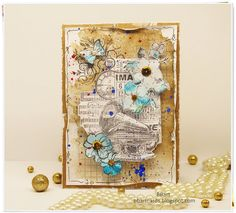 Today I wanted to show a layered piece of paper in vintage style, full of splashing. Watercolor Background, Vintage Cards, Vintage World Maps, Vintage Fashion, Scrapbooking, Paper Crafts, My Favorite Things, Diy, Tutorials