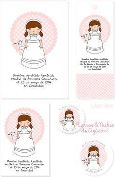 tartas y nubes de azúcar: Recordatorios Primera Comunión para niñas