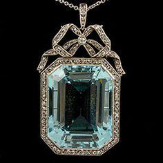 John Joseph Pendants-MM2621p Edwardian fine aquamarine and diamond platinum set pendant 1900c impressive