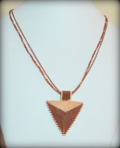 Triangle Peyote beaded necklace light copper & by BeadsnSteeds, $22.00