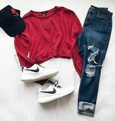 ripped jeans red sweater, nikes and a cap Teen Fashion Outfits, Ootd Fashion, Girl Outfits, Tumblr Outfits, Jean Outfits, Dress Outfits, Fashion Trends, Dresses, Everyday Outfits