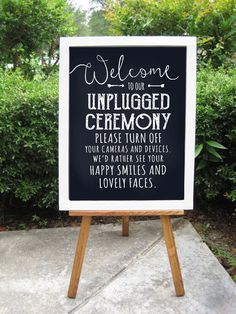 Unplugged Ceremony. Digital PDF file for instant download. Print and place in a beautiful frame for an elegant, yet fun touch to your rustic wedding. 16x20 or 8x10 with 1/8 bleed for trimming. ✪ THIS IS A PRINTABLE FILE, NO PHYSICAL PRODUCT WILL BE MAILED ✪ Upload to the printer of your choice or print on your home computer and printer. I recommend Walgreen's board print or a local print shop such as Kinkos. ✪ SIZES ✪ 16x20 or 8x10 Custom sizes available as well, please ask first. ✪ FIL...