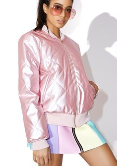 Pillow Talk Bomber Jacket can we wake up next to yer cool side? This super cute bomber jacket has quilted details all over in the most luscious pink satin hues with side pockets, wide ribbed knit banding, and a front zip closure.