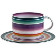 Missoni Home Zig Zag - Teacup & Saucer - Set of 2 ($219) ❤ liked on Polyvore featuring home, kitchen & dining, drinkware, multi, twin pack, tea saucer, porcelain tea cups and saucers, porcelain tea cups and tea-cup