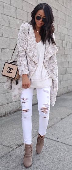 fall fashion trends / bag + sweater + ripped jeans + boots + fur jacket