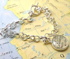 Two Sided Charm Vintage Map Toggle Sterling Silver Charm Bracelet