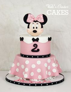 Minnie Mouse Cake - Minnie Mouse cake (chocolate). Handmade fondant Minnie. All edible.