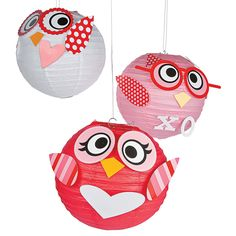 Looking for fun Valentine's Day ideas? Three designs make these lovable owls a cute hoot when added to your other Valentine's Day decoration. Paper Lantern Owl, Hanging Paper Lanterns, Owl Party Supplies, Homemade Lanterns, Owl Theme Classroom, Classroom Ideas, Fun Valentines Day Ideas, Summer Crafts For Kids, Owl Crafts
