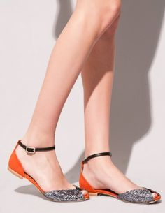Tangerine glitter strappy flats