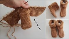 ÖRGÜ SOSYETE EV AYAKKABISI ÖRME BOTLAR VE TARİFİ Knitting Socks, Baby Knitting, Knit Baby Dress, Knit Boots, Knitted Slippers, Knit Skirt, Crochet For Kids, Crochet Stitches, Fingerless Gloves