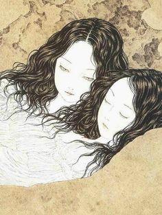 Takato Yamamoto - Japanese Illustration - Heisei Estheticism - Like a Curtain of Ashes (detail) Japan Illustration, Ero Guro, Art Japonais, Mystique, Arte Horror, Japan Art, Japanese Artists, Yamamoto, Manga Art