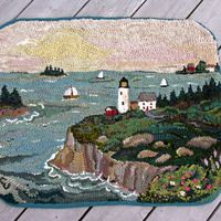 Love coastal landscape hooked rugs! Wonderful cliffs, lighthouse waves hitting the rocks...well done!