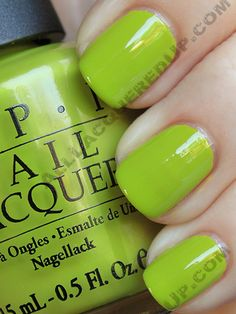 OPI Who the Shrek Are You?  This is no where near as lime as it looks - much more chartreuse, and I love it.